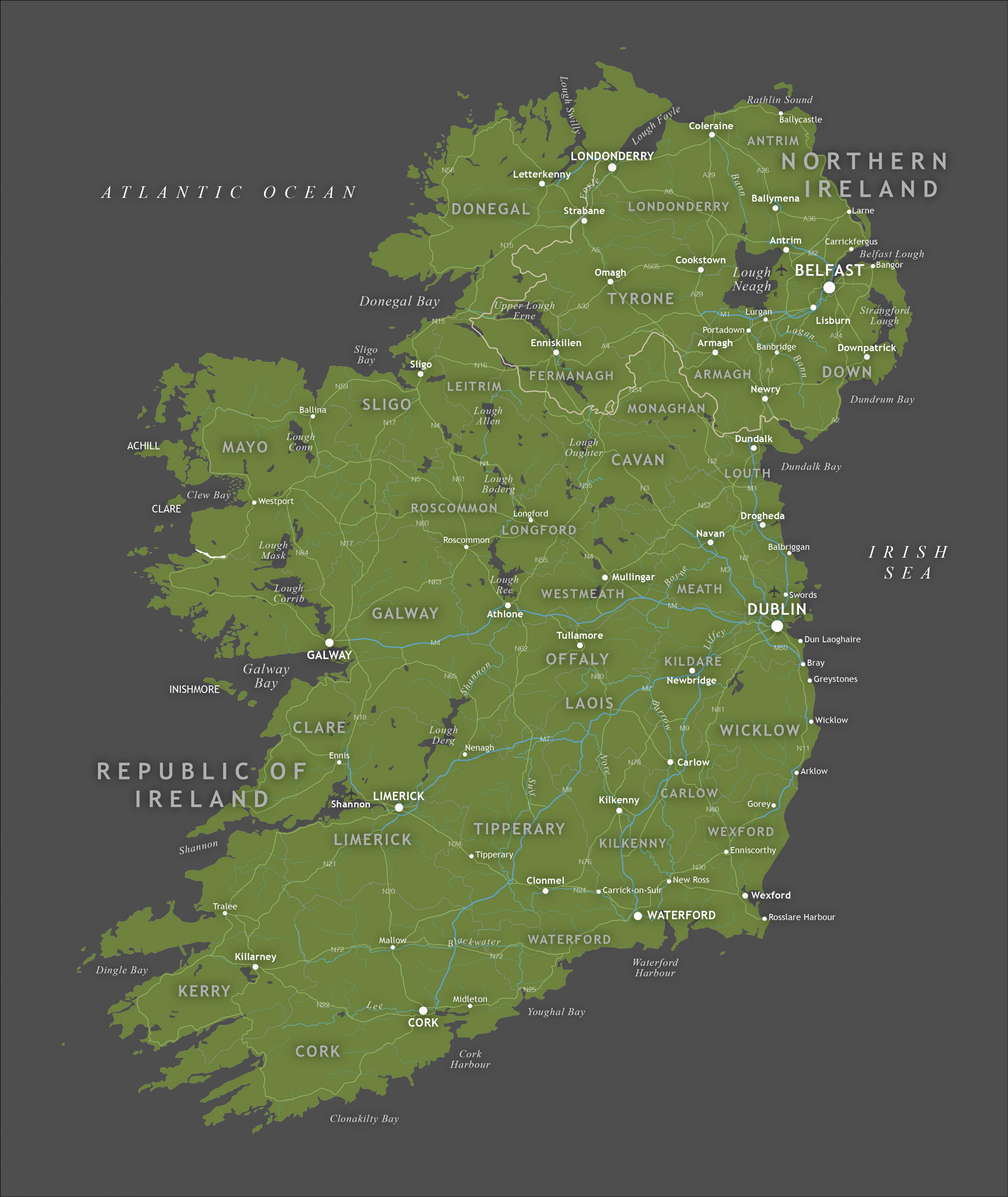 A4 Map Of Ireland.Nemokama Zemėlapis Airija Rep Of Ireland Map Siaurės Europoje